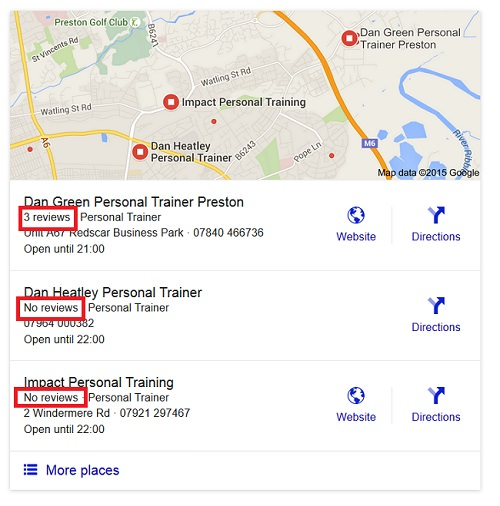 results from a Google local search